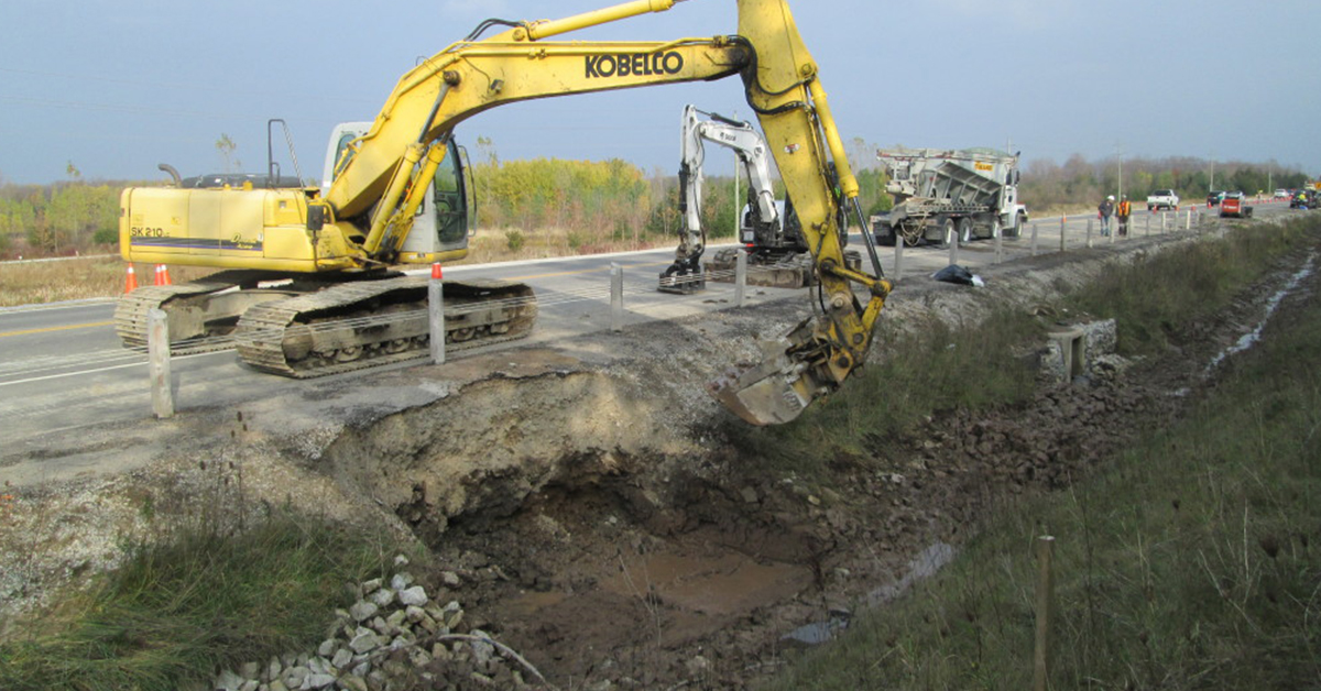 contaminated ditch clean up